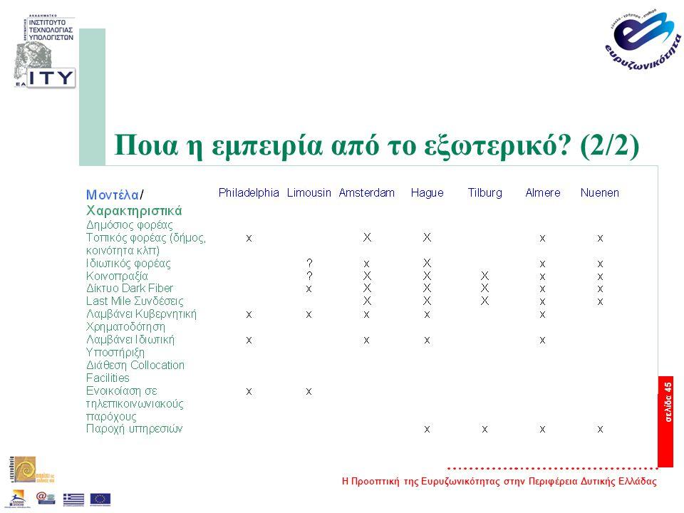 Η Προοπτική της Ευρυζωνικότητας στην Περιφέρεια Δυτικής Ελλάδας σελίδα 45 Ποια η εμπειρία από το εξωτερικό.