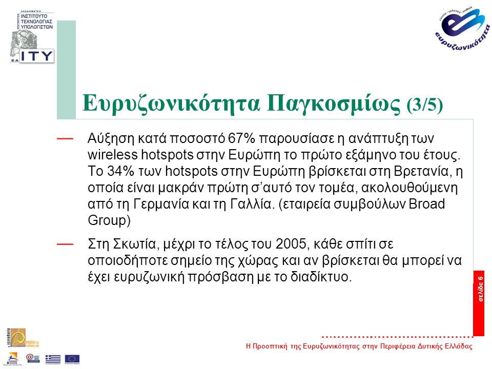 Η Προοπτική της Ευρυζωνικότητας στην Περιφέρεια Δυτικής Ελλάδας σελίδα 6 Ευρυζωνικότητα Παγκοσμίως (3/5) — Αύξηση κατά ποσοστό 67% παρουσίασε η ανάπτυξη των wireless hotspots στην Ευρώπη το πρώτο εξάμηνο του έτους.