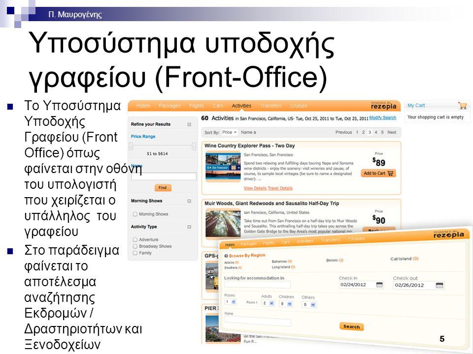 6 Υποσύστημα υποστήριξης γραφείου (Back-Office) Το σύστημα στο οποίο μεταφέρονται όλες οι κρατήσεις από το υποσύστημα υποδοχής γραφείου για επεξεργασία Πραγματοποιούνται  Χρεώσεις πελατών  Εισπράξεις από τους πελάτες  Πληρωμές στους προμηθευτές τουριστικών προϊόντων  Ηλεκτρονική τήρηση λογιστικών βιβλίων  Συγκεντρωτικά στοιχεία (συνολικές πωλήσεις, κέρδη ανά πελάτη, ανά προορισμό, ανά προϊόν, ανά προμηθευτή κλπ)  Υποστήριξη του μάρκετινγκ