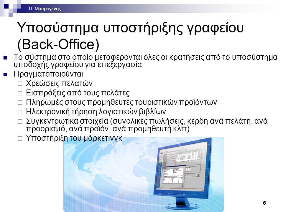 Υποσύστημα υποστήριξης γραφείου (Back-Office) Το Υποσύστημα Υποστήριξης Γραφείου (Back Office) όπως φαίνεται στην οθόνη του υπολογιστή που χειρίζεται ο υπάλληλος του γραφείου Στο παράδειγμα ο υπάλληλος ζητά από το σύστημα κατάλογο με το σύνολο των τιμολογίων που εκδόθηκαν μια συγκεκριμένη περίοδο 7 Π.