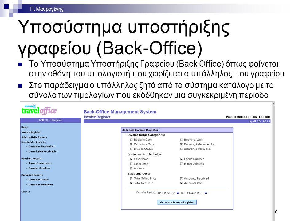 Ολοκληρωμένο Πληροφοριακό Σύστημα Τουριστικού Πρακτορείου – Διάγραμμα Front Office Αναζητήσεις Κρατήσεις Εισιτήρια Back Office Χρεώσεις Εισπράξεις Πληρωμές Λογιστικά Συγκεντρωτικά στοιχεία Μάρκετινγκ Ομαδοποίηση πελατών Προσφορές Προώθηση προσφορών Πελάτης Δίκτυο Γενικής Διανομής ή και Internet Ξενοδοχεία Εκδρομές Ξεναγήσεις Διαμερίσματα Θέατρα Ενοικιάσεις αυτοκινήτων Αεροπορικές εταιρείες