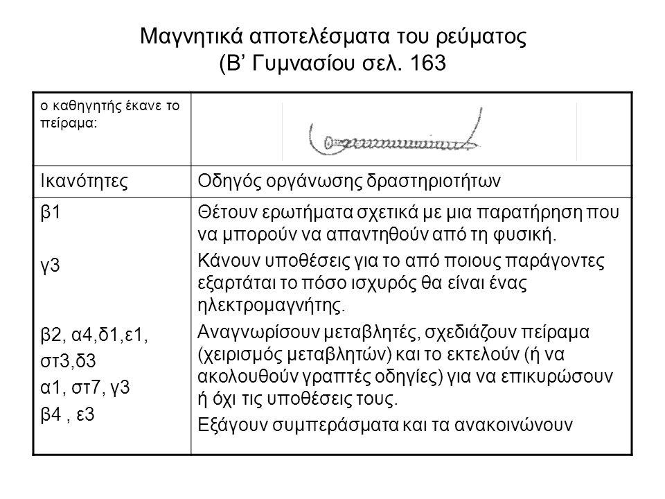 Μαγνητικά αποτελέσματα του ρεύματος (Β' Γυμνασίου σελ.