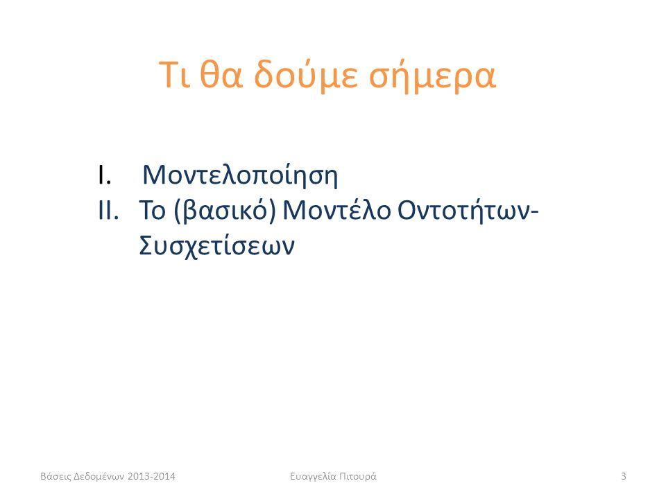 Βάσεις Δεδομένων 2013-2014Ευαγγελία Πιτουρά14 Μια οντότητα αντιστοιχεί σε ένα αντικείμενο του πραγματικού κόσμου: βιβλίο, φοιτητής, μάθημα, υπάλληλος, πιστωτική-κάρτα, τραπεζικός-λογαριασμός Οντότητες-Συσχετίσεις Μια συσχέτιση σε μια διασύνδεση μεταξύ δύο ή περισσότερων οντοτήτων: φοιτητής-δανείζεται-βιβλίο, φοιτητής-γράφεται-μάθημα, υπάλληλος-δουλεύει-τμήμα, κλπ