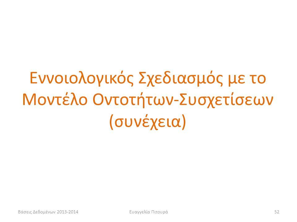 Βάσεις Δεδομένων 2013-2014Ευαγγελία Πιτουρά52 Εννοιολογικός Σχεδιασμός με το Μοντέλο Οντοτήτων-Συσχετίσεων (συνέχεια)