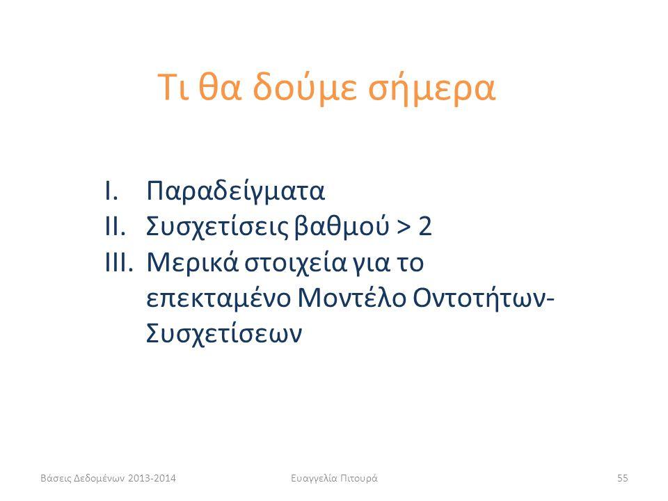 Βάσεις Δεδομένων 2013-2014Ευαγγελία Πιτουρά55 I.Παραδείγματα II.Συσχετίσεις βαθμού > 2 III.Μερικά στοιχεία για το επεκταμένο Μοντέλο Οντοτήτων- Συσχετ