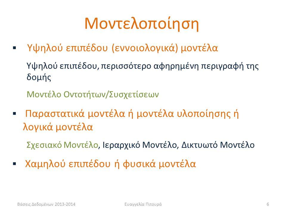Βάσεις Δεδομένων 2013-2014Ευαγγελία Πιτουρά6  Υψηλού επιπέδου (εννοιολογικά) μοντέλα Υψηλού επιπέδου, περισσότερο αφηρημένη περιγραφή της δομής Μοντέ