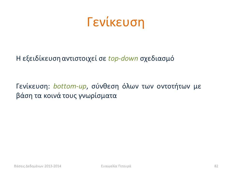 Βάσεις Δεδομένων 2013-2014Ευαγγελία Πιτουρά82 Η εξειδίκευση αντιστοιχεί σε top-down σχεδιασμό Γενίκευση: bottom-up, σύνθεση όλων των οντοτήτων με βάση