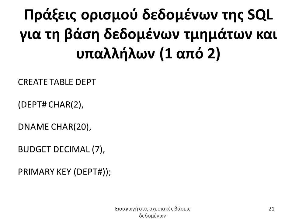Πράξεις ορισμού δεδομένων της SQL για τη βάση δεδομένων τμημάτων και υπαλλήλων (1 από 2) CREATE TABLE DEPT (DEPT# CHAR(2), DNAME CHAR(20), BUDGET DECI