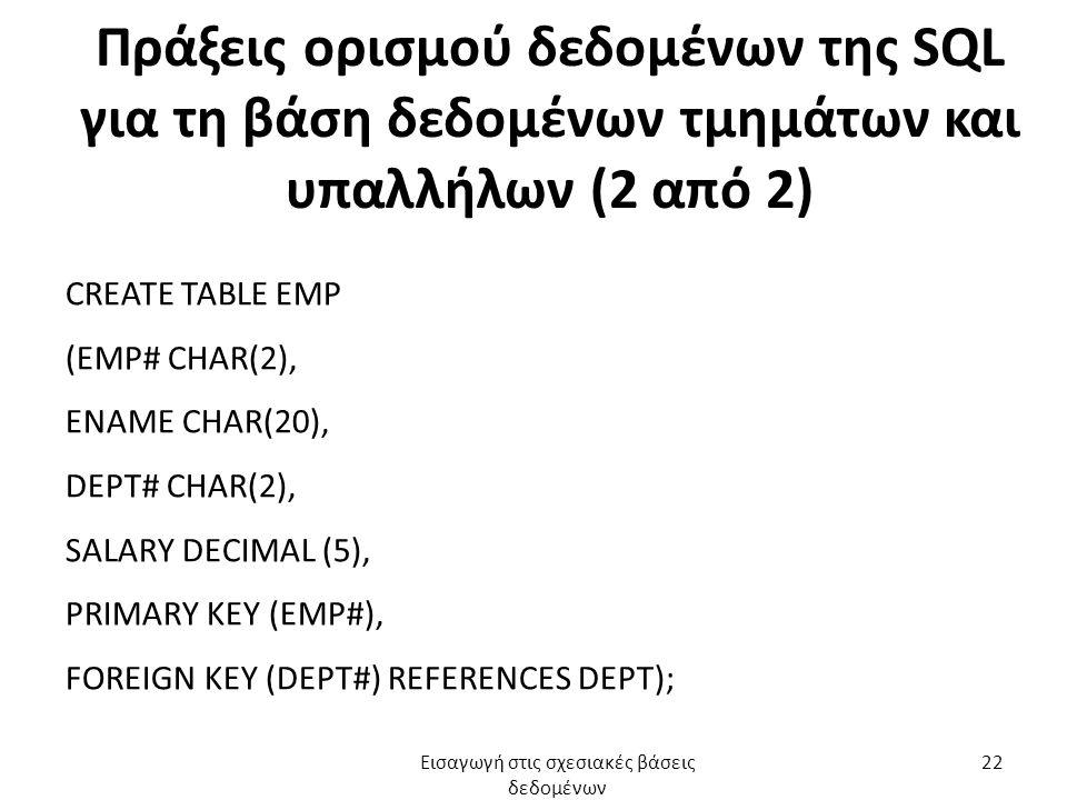 Πράξεις ορισμού δεδομένων της SQL για τη βάση δεδομένων τμημάτων και υπαλλήλων (2 από 2) CREATE TABLE EMP (EMP# CHAR(2), ENAME CHAR(20), DEPT# CHAR(2)