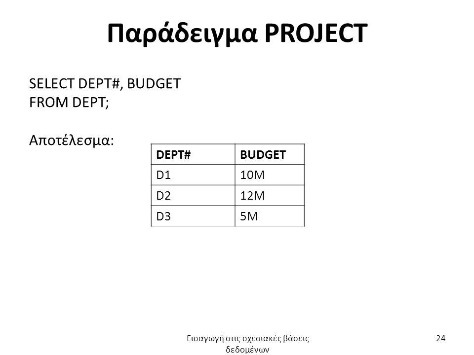 Παράδειγμα PROJECT SELECT DEPT#, BUDGET FROM DEPT; Αποτέλεσμα: DEPT#BUDGET D110M D212M D35M Εισαγωγή στις σχεσιακές βάσεις δεδομένων 24