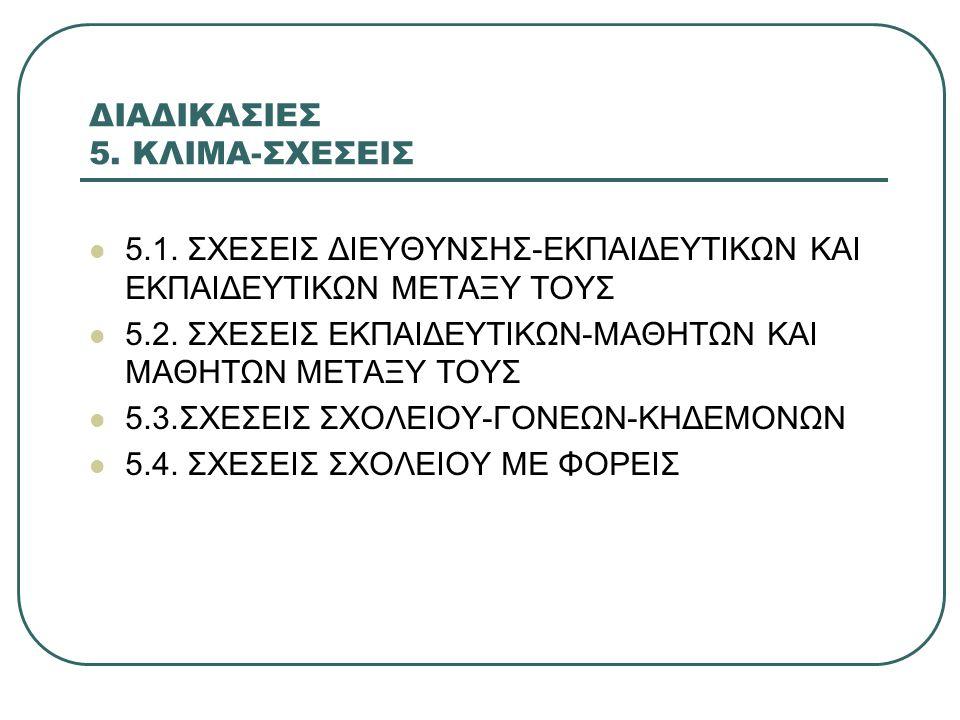 ΔΙΑΔΙΚΑΣΙΕΣ 5.ΚΛΙΜΑ-ΣΧΕΣΕΙΣ 5.1.