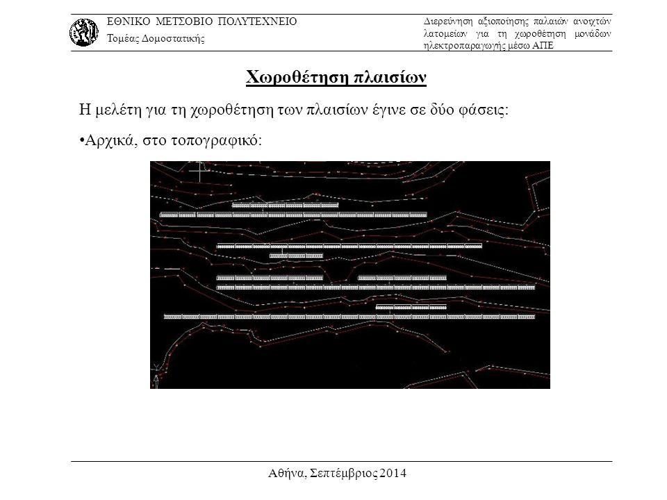 Αθήνα, Σεπτέμβριος 2014 Χωροθέτηση πλαισίων Η μελέτη για τη χωροθέτηση των πλαισίων έγινε σε δύο φάσεις: Αρχικά, στο τοπογραφικό: ΕΘΝΙΚΟ ΜΕΤΣΟΒΙΟ ΠΟΛΥ