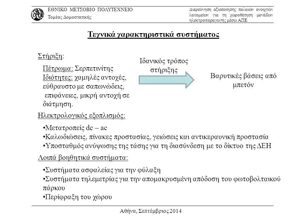 Αθήνα, Σεπτέμβριος 2014 Τεχνικά χαρακτηριστικά συστήματος Στήριξη: Πέτρωμα: Σερπετινίτης Ιδιότητες: χαμηλές αντοχές, εύθραυστο με σαπωνώδεις, επιφάνει