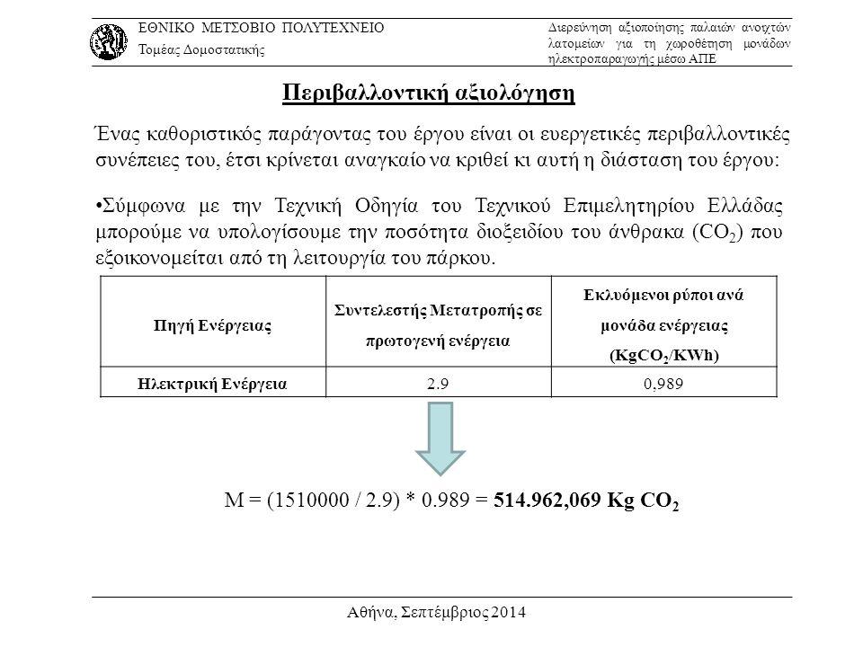 Αθήνα, Σεπτέμβριος 2014 Περιβαλλοντική αξιολόγηση Ένας καθοριστικός παράγοντας του έργου είναι οι ευεργετικές περιβαλλοντικές συνέπειες του, έτσι κρίν