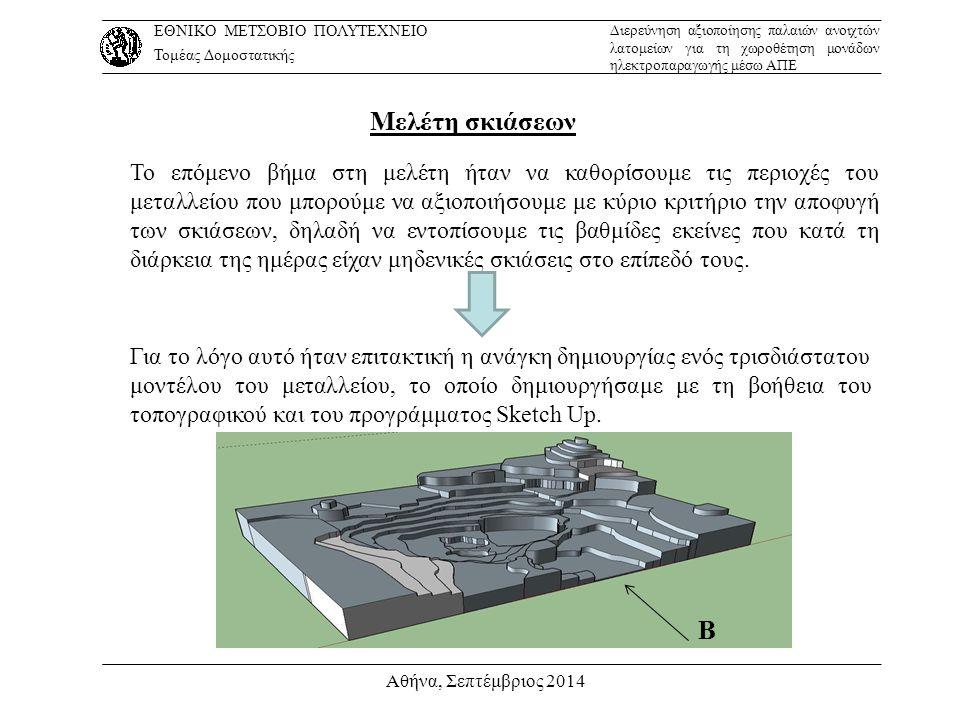 Αθήνα, Σεπτέμβριος 2014 Μελέτη σκιάσεων Το επόμενο βήμα στη μελέτη ήταν να καθορίσουμε τις περιοχές του μεταλλείου που μπορούμε να αξιοποιήσουμε με κύ