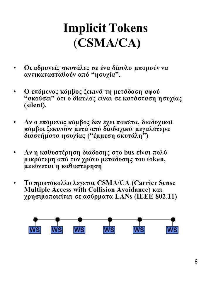 8 Implicit Tokens (CSMA/CA) Οι αδρανείς σκυτάλες σε ένα δίαυλο μπορούν να αντικατασταθούν από ησυχία .