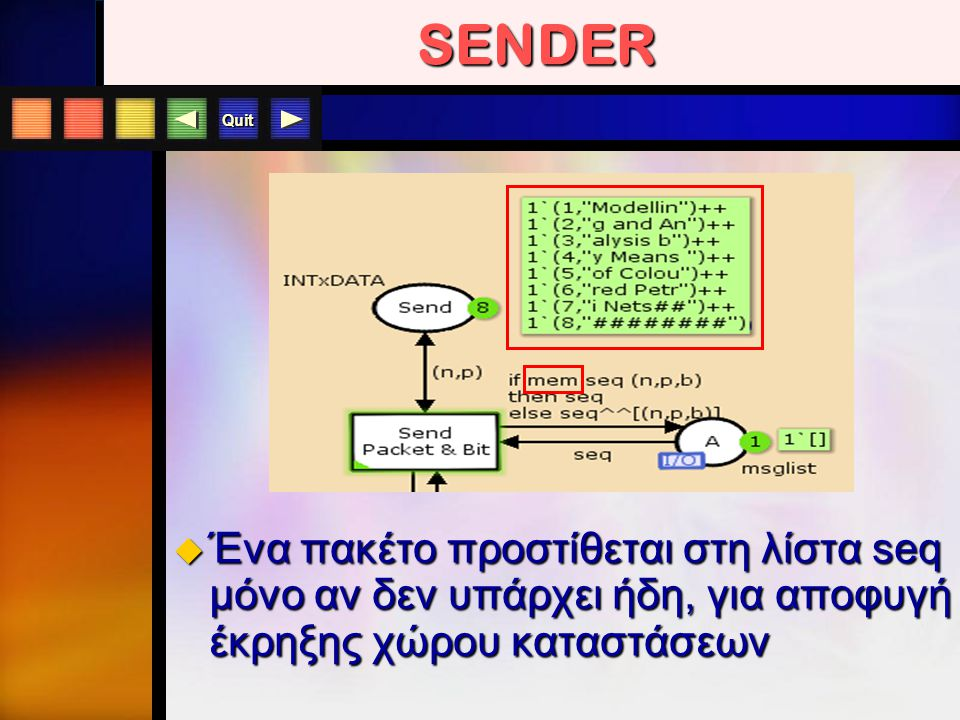 Quit SENDER  Ένα πακέτο προστίθεται στη λίστα seq μόνο αν δεν υπάρχει ήδη, για αποφυγή έκρηξης χώρου καταστάσεων