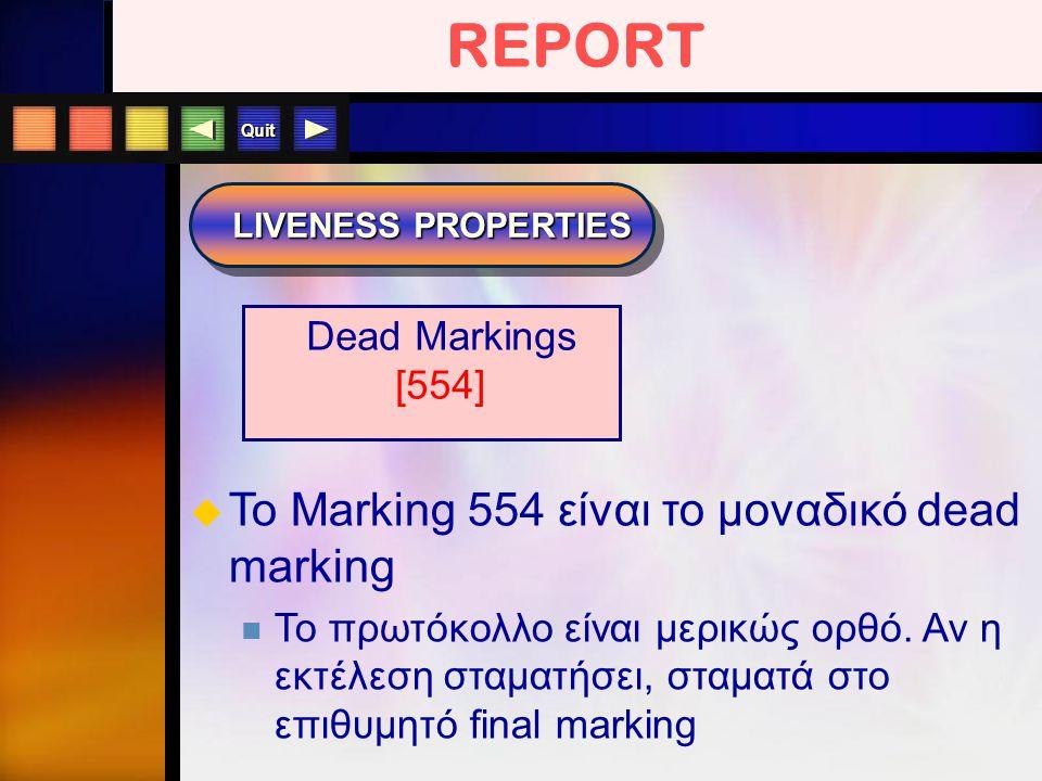 Quit REPORT LIVENESS PROPERTIES  To Marking 554 είναι το μοναδικό dead marking To πρωτόκολλο είναι μερικώς ορθό. Αν η εκτέλεση σταματήσει, σταματά στ
