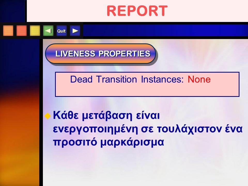 Quit REPORT LIVENESS PROPERTIES  Kάθε μετάβαση είναι ενεργοποιημένη σε τουλάχιστον ένα προσιτό μαρκάρισμα Dead Transition Instances: None