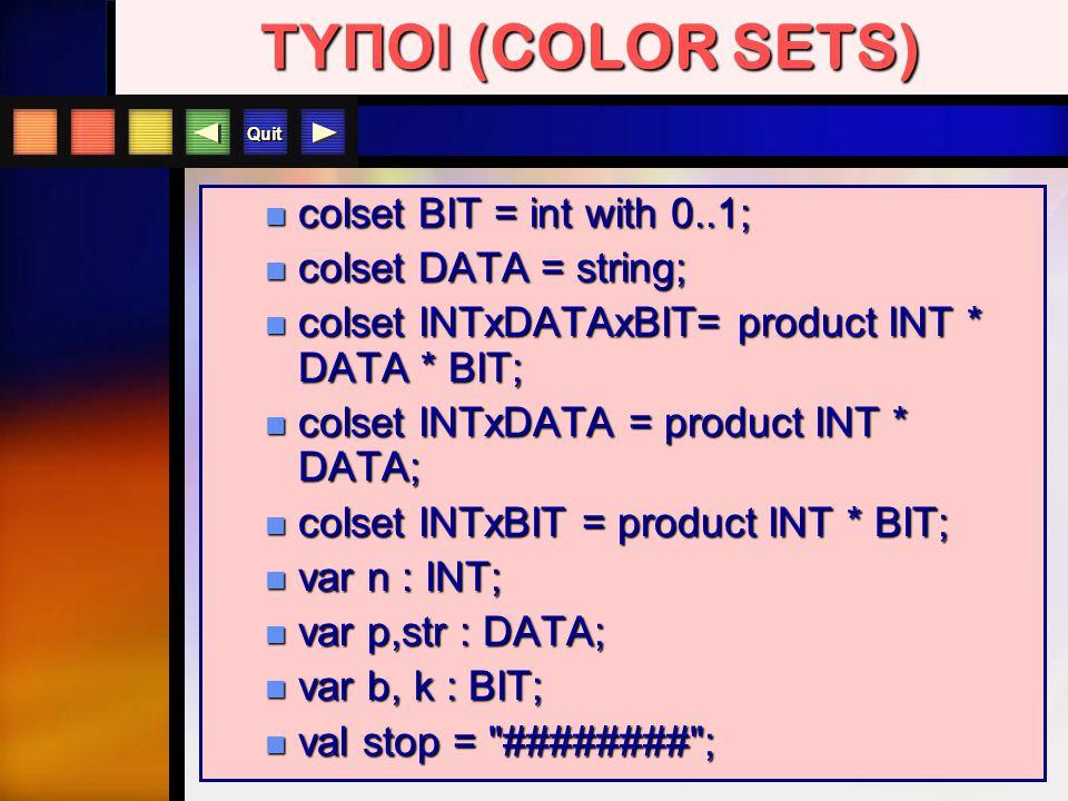 Quit colset BIT = int with 0..1; colset BIT = int with 0..1; colset DATA = string; colset DATA = string; colset INTxDATAxBIT= product INT * DATA * BIT