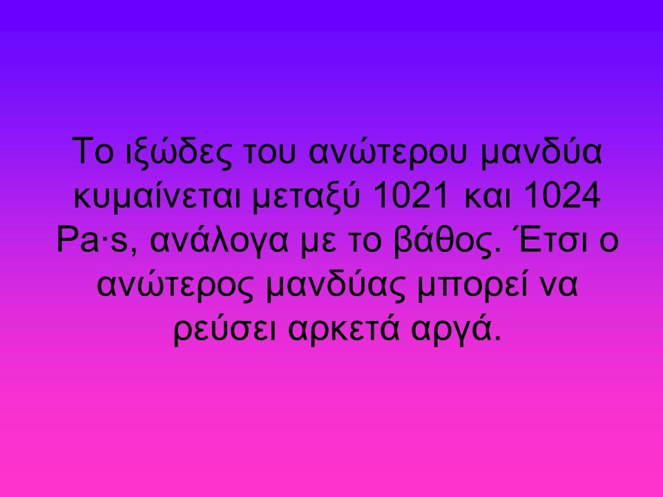 Το ιξώδες του ανώτερου μανδύα κυμαίνεται μεταξύ 1021 και 1024 Pa·s, ανάλογα με το βάθος. Έτσι ο ανώτερος μανδύας μπορεί να ρεύσει αρκετά αργά.