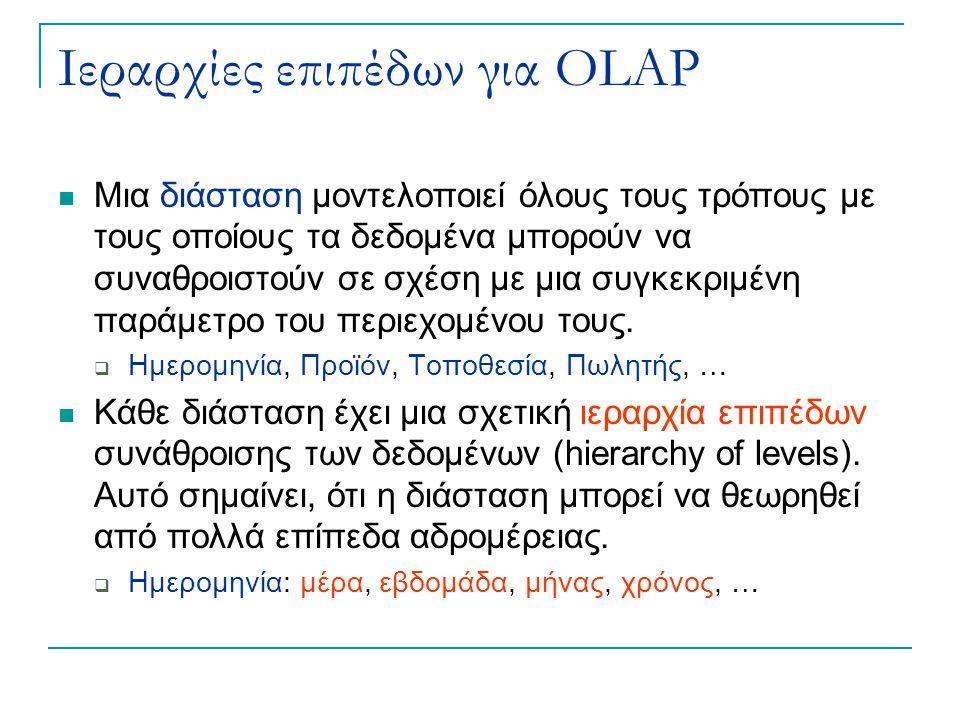 Ιεραρχίες επιπέδων για OLAP Μια διάσταση μοντελοποιεί όλους τους τρόπους με τους οποίους τα δεδομένα μπορούν να συναθροιστούν σε σχέση με μια συγκεκριμένη παράμετρο του περιεχομένου τους.