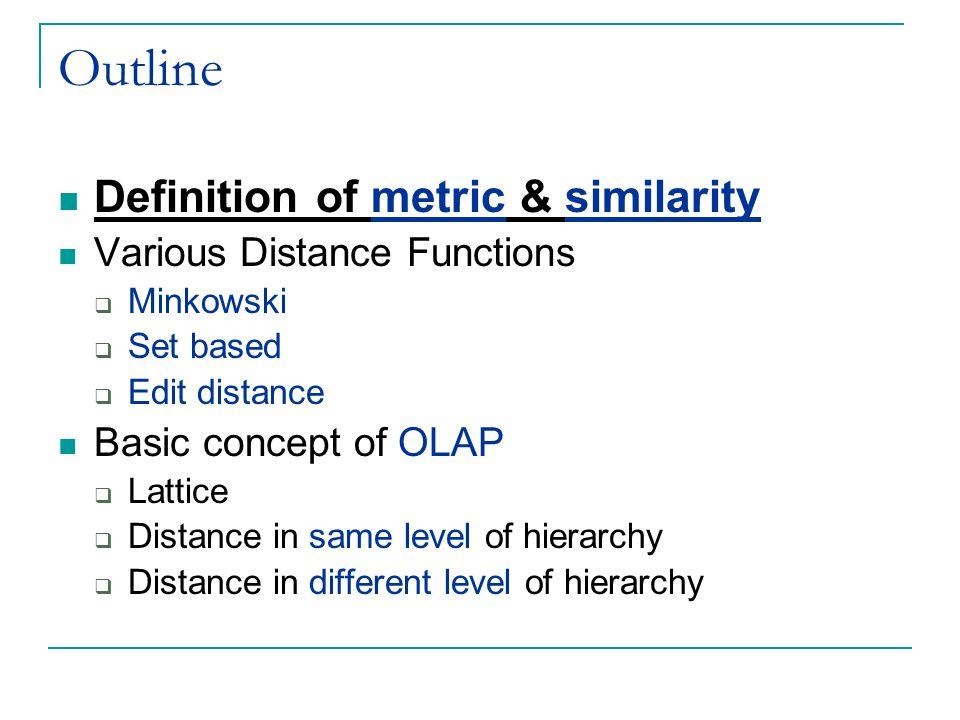 Edit distances Jaro Winkler Example Let s =MARTHA and t =MARHTA and PREFIXSCALE = 0.1  Jaro(s,t)=0.8055  prefixLength=3 JWS(s,t)= Jaro(s,t) + ((prefixLength * PREFIXSCALE * (1.0-Jaro(s,t))) = 0.8055 + (3*0.1*(1-0.8055)) = 0.86385