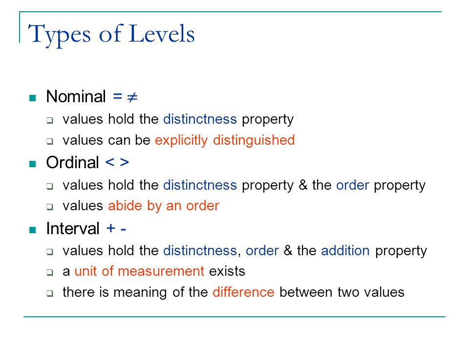 Types of Levels Nominal =   values hold the distinctness property  values can be explicitly distinguished Ordinal  values hold the distinctness property & the order property  values abide by an order Interval + -  values hold the distinctness, order & the addition property  a unit of measurement exists  there is meaning of the difference between two values