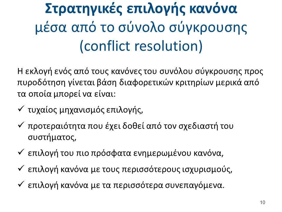 Στρατηγικές επιλογής κανόνα μέσα από το σύνολο σύγκρουσης (conflict resolution) Η εκλογή ενός από τους κανόνες του συνόλου σύγκρουσης προς πυροδότηση γίνεται βάση διαφορετικών κριτηρίων μερικά από τα οποία μπορεί να είναι: τυχαίος μηχανισμός επιλογής, προτεραιότητα που έχει δοθεί από τον σχεδιαστή του συστήματος, επιλογή του πιο πρόσφατα ενημερωμένου κανόνα, επιλογή κανόνα με τους περισσότερους ισχυρισμούς, επιλογή κανόνα με τα περισσότερα συνεπαγόμενα.