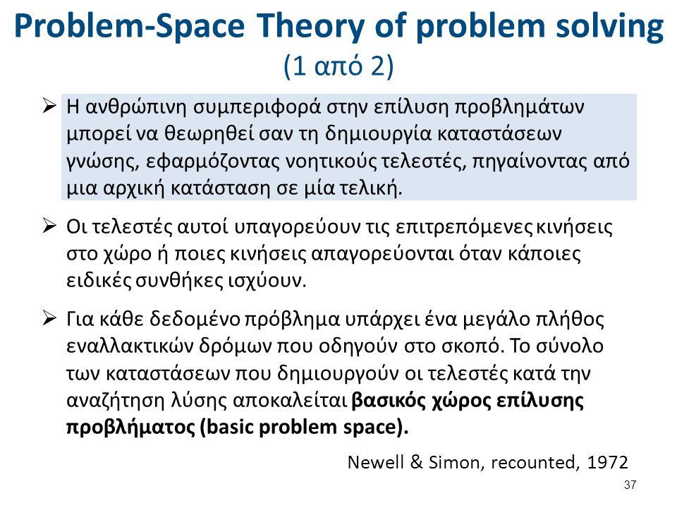 Problem-Space Theory of problem solving (1 από 2)  Η ανθρώπινη συμπεριφορά στην επίλυση προβλημάτων μπορεί να θεωρηθεί σαν τη δημιουργία καταστάσεων γνώσης, εφαρμόζοντας νοητικούς τελεστές, πηγαίνοντας από μια αρχική κατάσταση σε μία τελική.