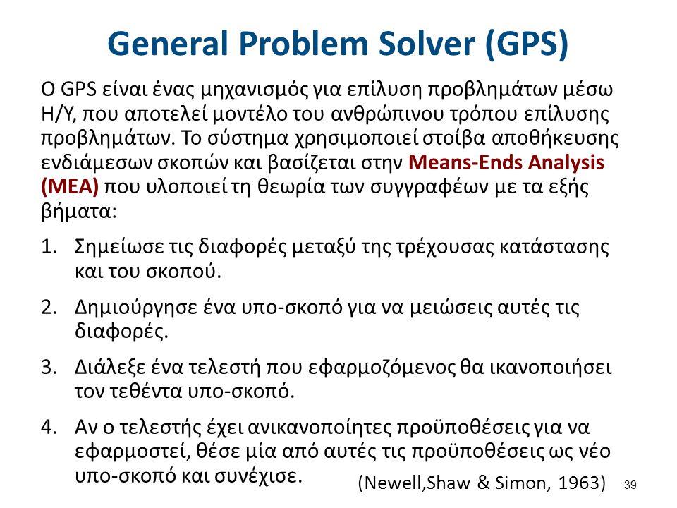 General Problem Solver (GPS) Ο GPS είναι ένας μηχανισμός για επίλυση προβλημάτων μέσω Η/Υ, που αποτελεί μοντέλο του ανθρώπινου τρόπου επίλυσης προβλημάτων.