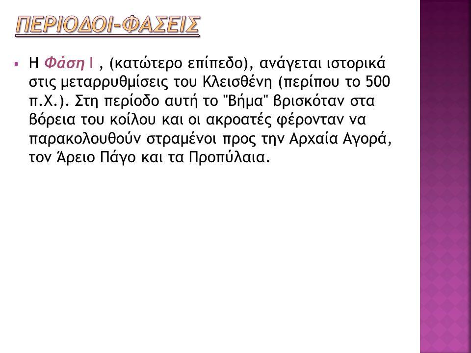  Η Φάση Ι, (κατώτερο επίπεδο), ανάγεται ιστορικά στις μεταρρυθμίσεις του Κλεισθένη (περίπου το 500 π.Χ.). Στη περίοδο αυτή το