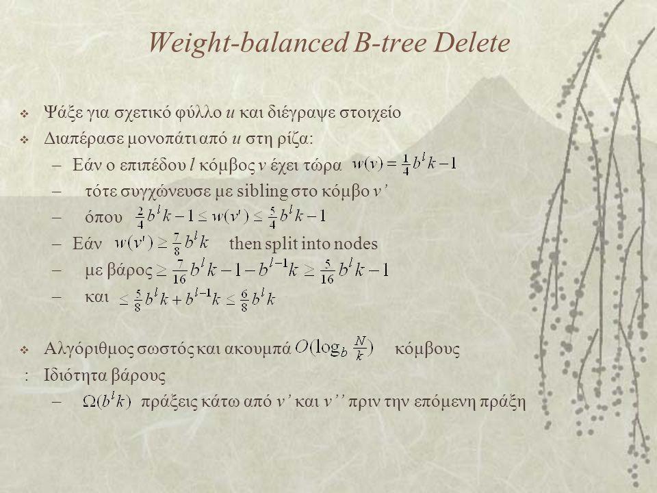 Weight-balanced B-tree Delete  Ψάξε για σχετικό φύλλο u και διέγραψε στοιχείο  Διαπέρασε μονοπάτι από u στη ρίζα: –Εάν ο επιπέδου l κόμβος v έχει τώρα –τότε συγχώνευσε με sibling στο κόμβο v' –όπου –Εάν then split into nodes –με βάρος –και  Αλγόριθμος σωστός και ακουμπά κόμβους :Ιδιότητα βάρους – πράξεις κάτω από v' και v'' πριν την επόμενη πράξη