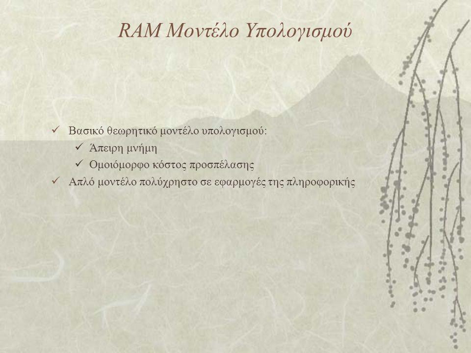 RAM Μοντέλο Υπολογισμού Βασικό θεωρητικό μοντέλο υπολογισμού: Άπειρη μνήμη Ομοιόμορφο κόστος προσπέλασης Απλό μοντέλο πολύχρηστο σε εφαρμογές της πληροφορικής