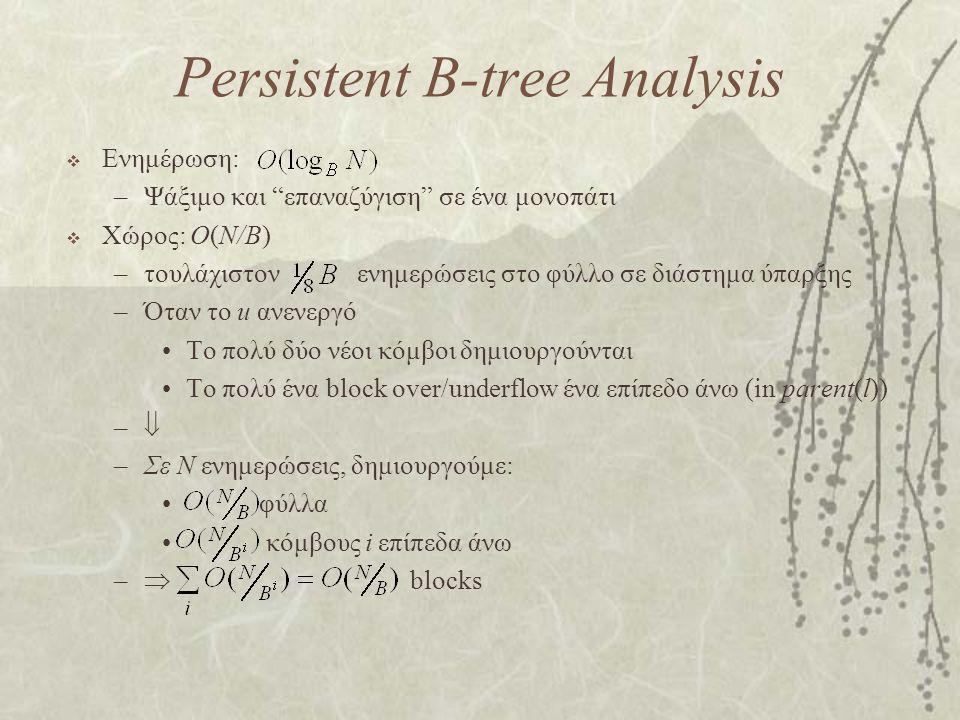 Persistent B-tree Analysis  Ενημέρωση: –Ψάξιμο και επαναζύγιση σε ένα μονοπάτι  Χώρος: O(N/B) –τουλάχιστον ενημερώσεις στο φύλλο σε διάστημα ύπαρξης –Όταν το u ανενεργό Το πολύ δύο νέοι κόμβοι δημιουργούνται Το πολύ ένα block over/underflow ένα επίπεδο άνω (in parent(l)) –– –Σε N ενημερώσεις, δημιουργούμε: φύλλα κόμβους i επίπεδα άνω –  blocks