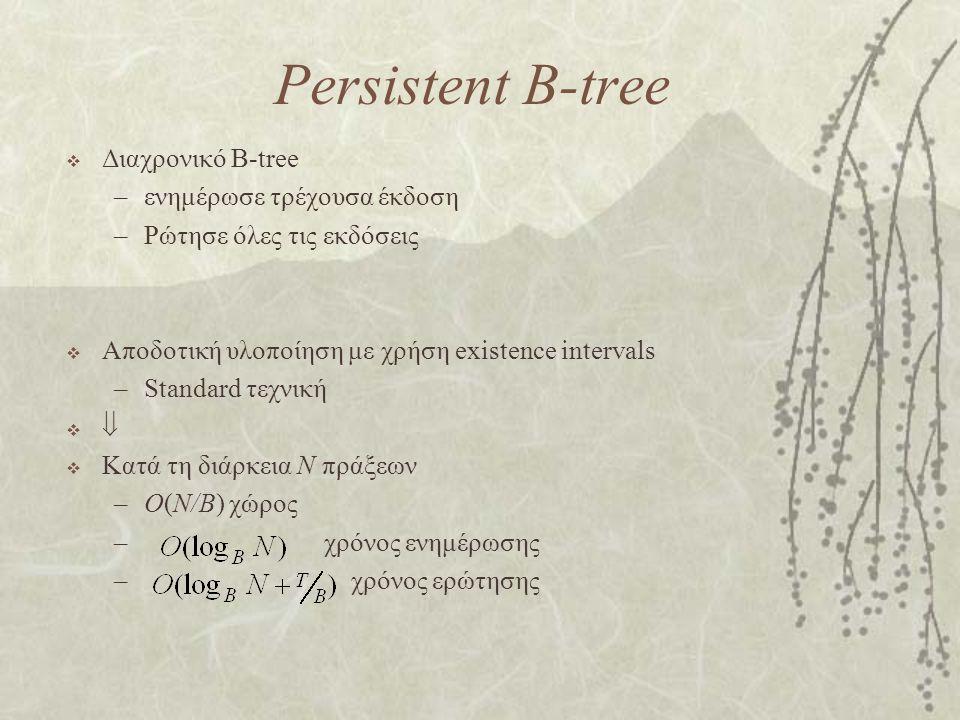 Persistent B-tree  Διαχρονικό B-tree –ενημέρωσε τρέχουσα έκδοση –Ρώτησε όλες τις εκδόσεις  Αποδοτική υλοποίηση με χρήση existence intervals –Standard τεχνική    Κατά τη διάρκεια N πράξεων –O(N/B) χώρος – χρόνος ενημέρωσης – χρόνος ερώτησης