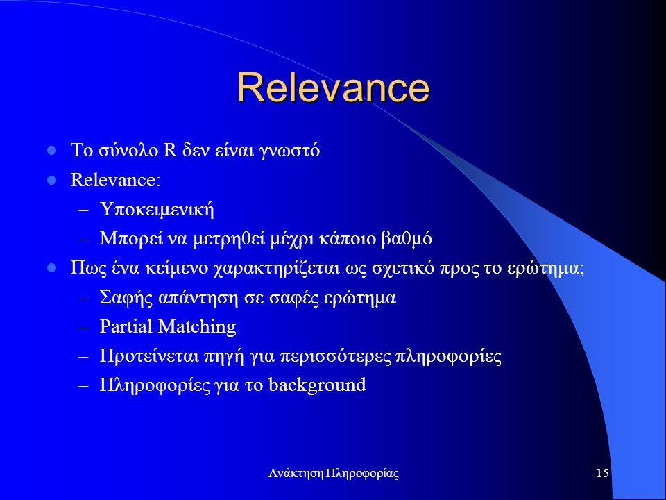 Ανάκτηση Πληροφορίας15 Relevance Το σύνολο R δεν είναι γνωστό Relevance: – Υποκειμενική – Μπορεί να μετρηθεί μέχρι κάποιο βαθμό Πως ένα κείμενο χαρακτηρίζεται ως σχετικό προς το ερώτημα; – Σαφής απάντηση σε σαφές ερώτημα – Partial Matching – Προτείνεται πηγή για περισσότερες πληροφορίες – Πληροφορίες για το background