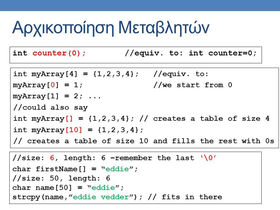 Αρχικοποίηση Μεταβλητών int counter(0);//equiv.