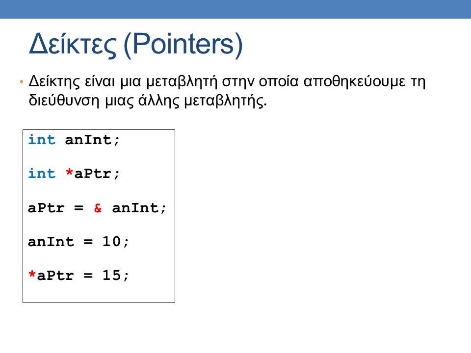 Δείκτες (Pointers) Δείκτης είναι μια μεταβλητή στην οποία αποθηκεύουμε τη διεύθυνση μιας άλλης μεταβλητής.