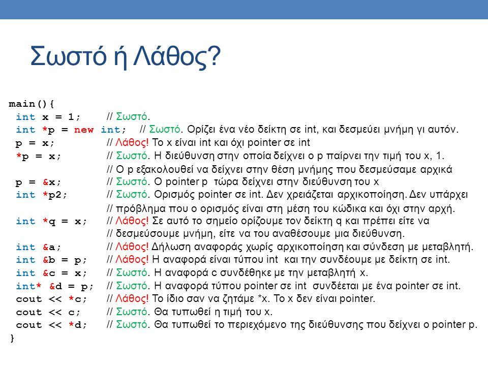 Σωστό ή Λάθος. main(){ int x = 1; // Σωστό. int *p = new int; // Σωστό.