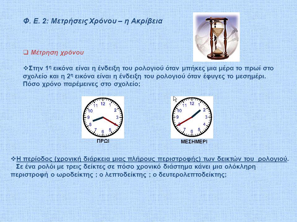 Φ. Ε. 2: Μετρήσεις Χρόνου – η Ακρίβεια ΠΡΩΙ ΜΕΣΗΜΕΡΙ  Μέτρηση χρόνου  Στην 1 η εικόνα είναι η ένδειξη του ρολογιού όταν μπήκες μια μέρα το πρωί στο
