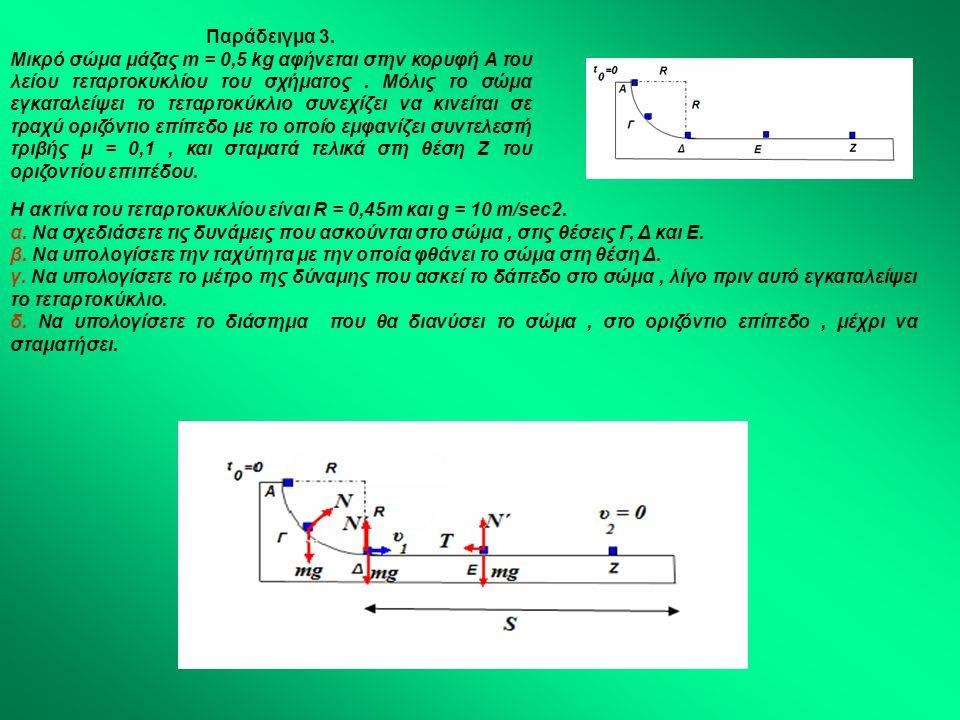 Παράδειγμα 3. Μικρό σώμα μάζας m = 0,5 kg αφήνεται στην κορυφή Α του λείου τεταρτοκυκλίου του σχήματος. Μόλις το σώμα εγκαταλείψει το τεταρτοκύκλιο συ