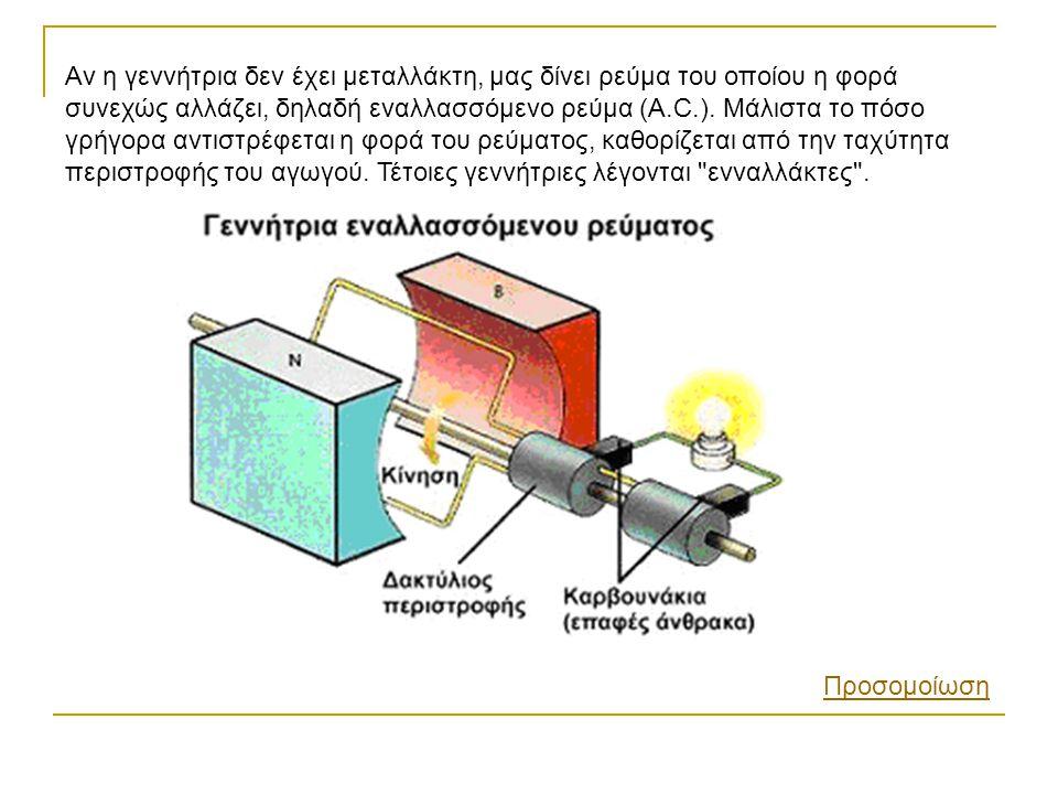 Αν η γεννήτρια δεν έχει μεταλλάκτη, μας δίνει ρεύμα του οποίου η φορά συνεχώς αλλάζει, δηλαδή εναλλασσόμενο ρεύμα (A.C.). Μάλιστα το πόσο γρήγορα αντι