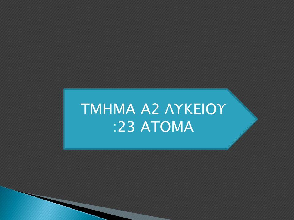 ΤΜΗΜΑ Α2 ΛΥΚΕΙΟΥ :23 ΑΤΟΜΑ