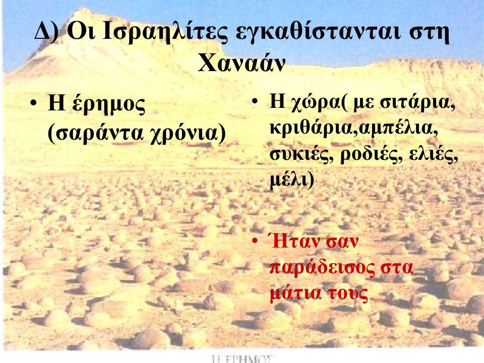 Δ) Οι Ισραηλίτες εγκαθίστανται στη Χαναάν Η έρημος (σαράντα χρόνια) Η χώρα( με σιτάρια, κριθάρια,αμπέλια, συκιές, ροδιές, ελιές, μέλι) Ήταν σαν παράδε