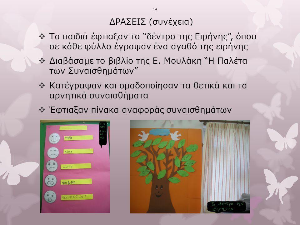"""1414 ΔΡΑΣΕΙΣ (συνέχεια)  Τα παιδιά έφτιαξαν το """"δέντρο της Ειρήνης"""", όπου σε κάθε φύλλο έγραψαν ένα αγαθό της ειρήνης  Διαβάσαμε το βιβλίο της Ε. Μο"""
