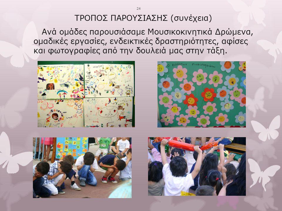 24 ΤΡΟΠΟΣ ΠΑΡΟΥΣΙΑΣΗΣ (συνέχεια) Ανά ομάδες παρουσιάσαμε Μουσικοκινητικά Δρώμενα, ομαδικές εργασίες, ενδεικτικές δραστηριότητες, αφίσες και φωτογραφίε
