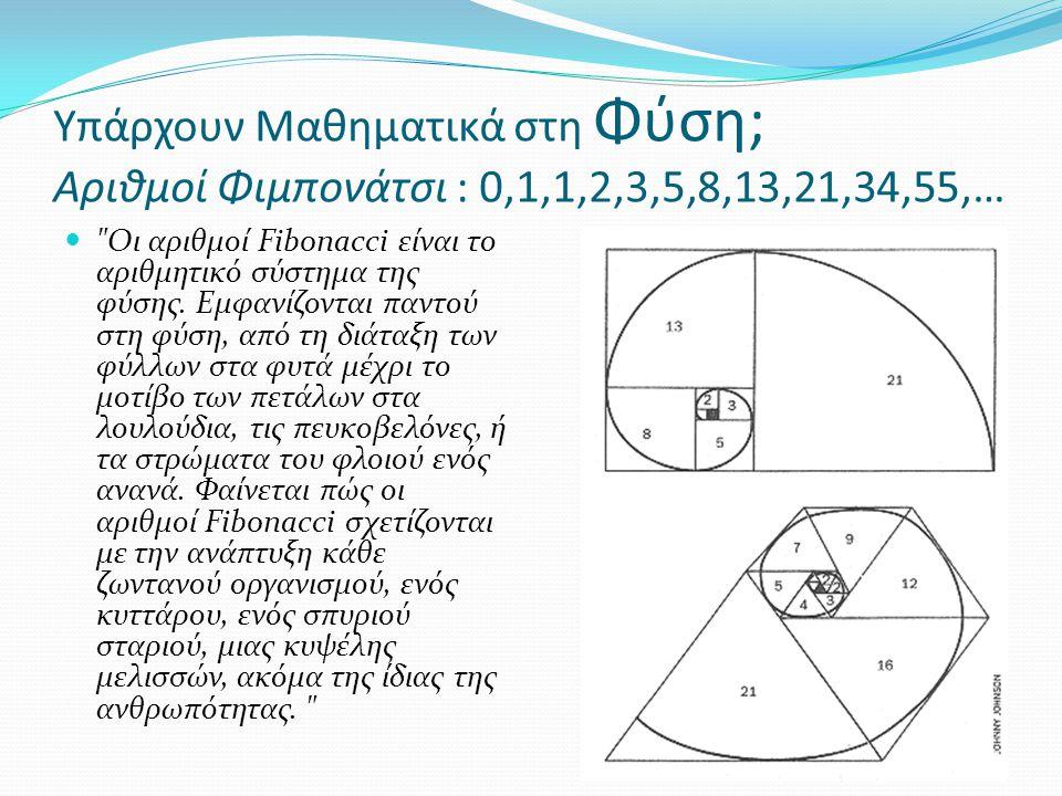 Υπάρχουν Μαθηματικά στη Φύση; Αριθμοί Φιμπονάτσι : 0,1,1,2,3,5,8,13,21,34,55,…