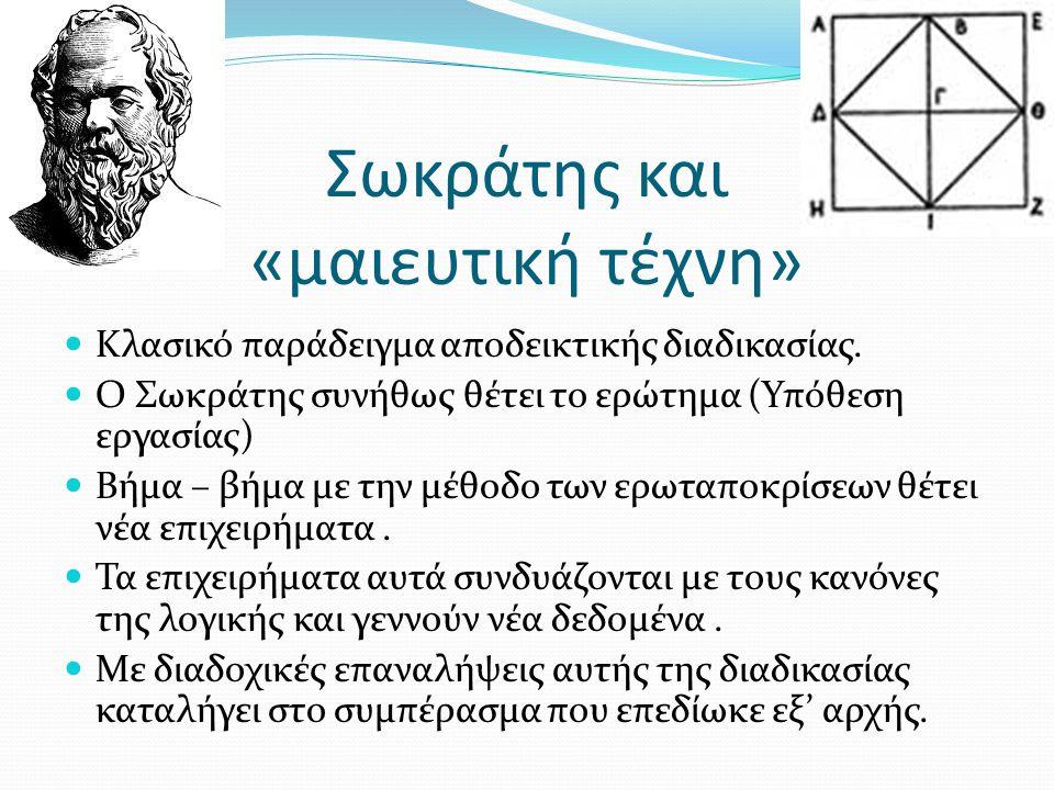 Σωκράτης και «μαιευτική τέχνη» Κλασικό παράδειγμα αποδεικτικής διαδικασίας. Ο Σωκράτης συνήθως θέτει το ερώτημα (Υπόθεση εργασίας) Βήμα – βήμα με την