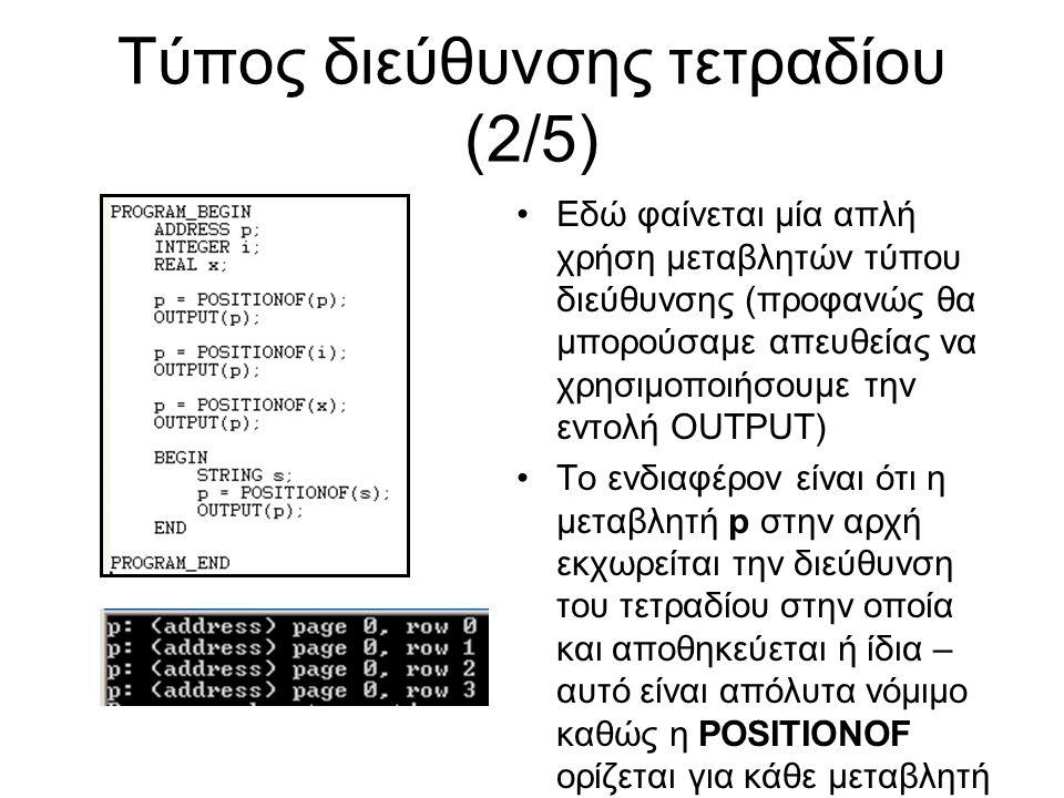 Τύπος διεύθυνσης τετραδίου (2/5) Εδώ φαίνεται μία απλή χρήση μεταβλητών τύπου διεύθυνσης (προφανώς θα μπορούσαμε απευθείας να χρησιμοποιήσουμε την εντολή OUTPUT) Το ενδιαφέρον είναι ότι η μεταβλητή p στην αρχή εκχωρείται την διεύθυνση του τετραδίου στην οποία και αποθηκεύεται ή ίδια – αυτό είναι απόλυτα νόμιμο καθώς η POSITIONOF ορίζεται για κάθε μεταβλητή